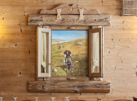 Dipinto finestra cane caccia